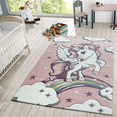 TT Home Alfombra Infantil De Juego Moderna Diseño De Estrellas Unicornio Y Nubes En Rosa, Größe:120x170...