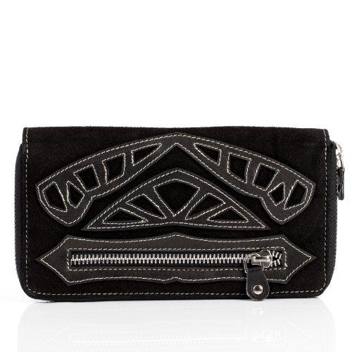 FEYNSINN Portemonnaie Leder ISSA groß Geldbörse Damen Geldbeutel echter Ledergeldbeutel Damen schwarz