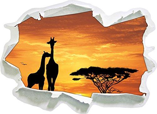 Stil.Zeit Giraffen im Sonnenuntergang, Papier 3D-Wandsticker Format: 92x67 cm Wanddekoration 3D-Wandaufkleber Wandtattoo