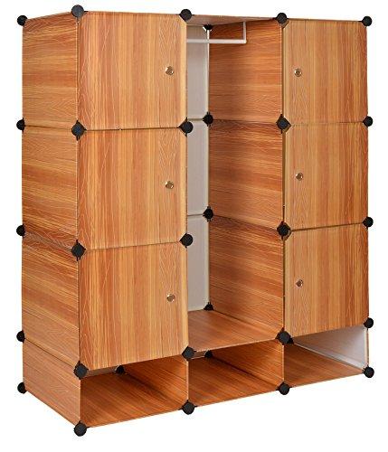 ts-ideen Regalsystem Steckregal Kleiderschrank Garderoben Flur Dielen Schuh Schrank Badschrank in Holzoptik 129 x 111 cm