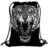 Violetpos Mode Brauch Unisex Turnbeutel Rucksack Sportbeutel Gym Bag Cool Tiger Heulen Schwarz