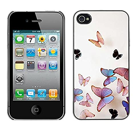 All Phone Most Case / Hard PC Metal piece Shell Slim Cover Protective Case Housse Coque Étui de protection pour Apple Iphone 4 / 4S butterfly peach iridescent pink nature