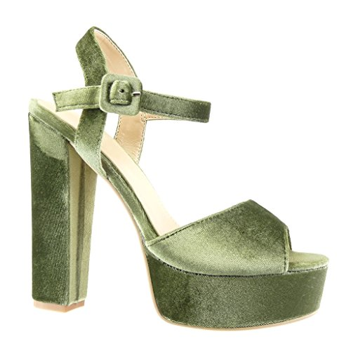 Angkorly Damen Schuhe Sandalen Pumpe - Plateauschuhe - Sexy - String Tanga Blockabsatz High Heel 14 cm Grüne