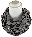 Sciarpa gioiello, fantasia animalier dettaglio brillante in argilla polimerica. Con Swarovski. Prodotto artigianale, fatto a mano in Italia, Made in Italy