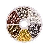 pandahall alrededor de 250 PC 6 colores 10mm hierro anillos del salto abierto enlace de cota de malla cable de calibre 21 para la fabricaci¨n de la joya