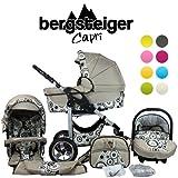 Bergsteiger Capri Kombikinderwagen 3-in-1 - System; Autositz; Schwenkräder (Megaset 10 - teilig); Farbe: Beige Circles