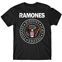 LaMAGLIERIA Camiseta Hombre Ramones - Classic Colors Logo Camiseta Rock 100% algodòn, XL, Negro