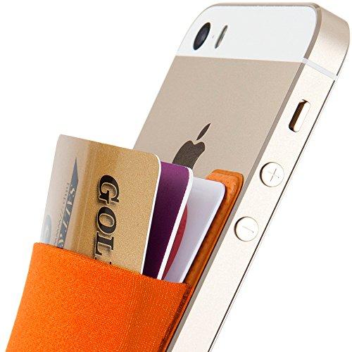 Sinjimoru Porte-Cartes, Pochette Adhésive, Portefeuille Autocollant pour Téléphone Portable, Stick-on Wallet pour iPhone, Galaxy, Sinji Pouch Basic 2, Orange