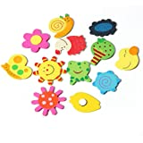 Craft Expertise Wooden Cartoon and Nature Theme Fridge Stickers Magnets - Set of 12 (Multicolour)