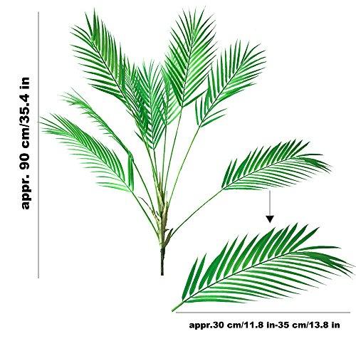 Aisamco Künstliche Tropische Palmenblatt, künstliche Pflanze in Grün, 1 Stück, Kunststoff, Areca-Palme, 9 Blätter, 88,9 cm hoch für Tropische Grünereien Akzente,
