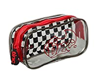 Tinc Geometric-Patterned Clear Transparent See-through Pencil Case with large toothed durable zip - Black/Red