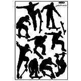 Skateboard Sport Cool Leben einfach schwarz DIY-Wand-Aufkleber Tapete Kunst Dekor Wandzimmer Aufkleber ay9148 (90 * 60cm)