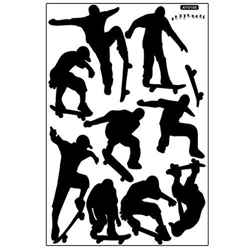 Skateboard Sport Cool Leben einfach schwarz DIY-Wand-Aufkleber Tapete Kunst Dekor Wandzimmer Aufkleber ay9148 (90 * 60cm) (Skateboard-zimmer Dekor)