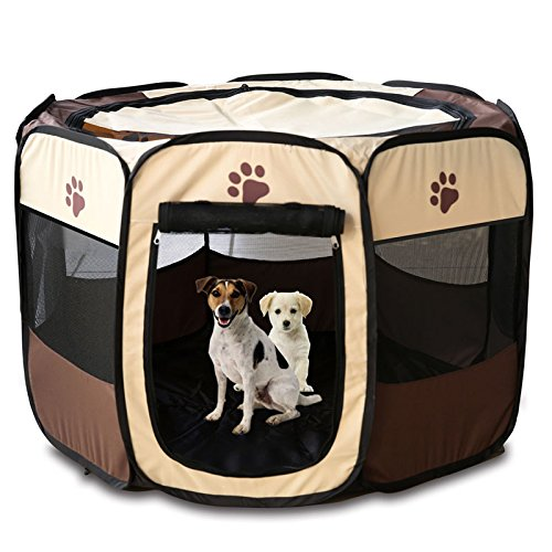 Semoss Faltbar Hundehaus Wasserdicht Hundehütte Hundekorb für Hunde,Welpen,Katzen und Tiere Hundezelt,Braun,Größe:63 cm X 40 cm