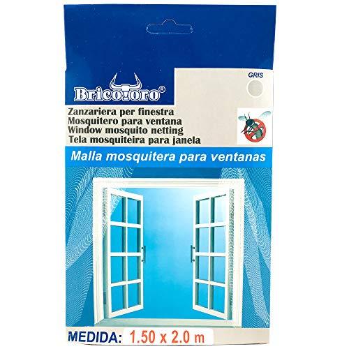 Bricotoro Mesh Moskitonetz für Fensterschutz gegen Insekten Mücken Schädlinge Fliegen (150x200cm, grau)