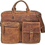 Robuste Aktentasche XL aus Leder, Lehrertasche Leder mit Laptopfach bis 17 Zoll DIN A4 Laptoptasche Damen aus Leder, Notebooktasche Herren Leder,...