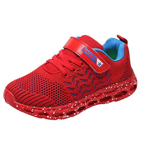 HDUFGJ Kinder Turnschuhe Jungen Sneaker Mädchen Sportschuhe Mesh Atmungsaktiv Klettverschluss Laufschuhe Kleinkind Schuhe Tuch Set Füße Freizeitschuhe31 EU(rot)