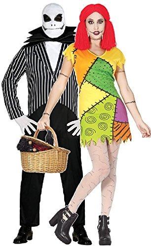 Paar Herren & Damen Alptraum Liebhaber Stoffpuppe Skellington König Halloween Horror TV Buch Film Kostüm Kleid Outfit - UK 16-18 - Mens Medium (Albtraum Halloween Kostüme)