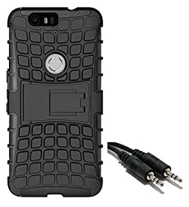 Ceres Tough Hybrid Armor Back Cover Case with Kickstand for Huawei Nexus 6P with Aux Cable (Black)