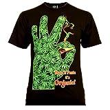 Don`t Panic Herren T-Shirt Schwarz Gr. XL Glow in The Dark