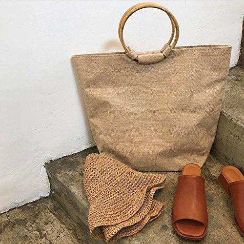 GUMO-Sacche da spiaggia, grande capacità, borsette, anelli in legno, biancheria, tempo libero, vacanze sacchi,giallo Yellow