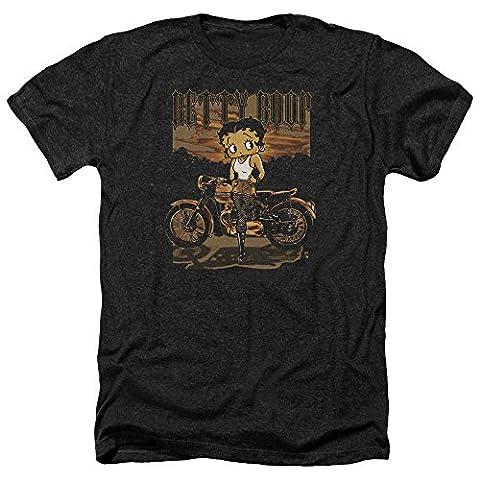 Betty Boop Rebel Rider Motorcycle Retro Cartoon Adult Heather T-Shirt