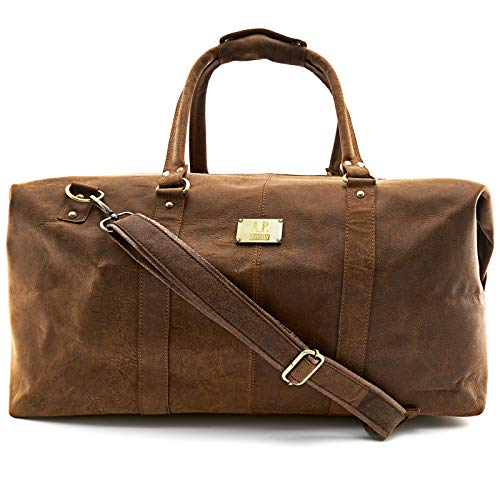 A.P. Donovan - Reisetasche aus Büffelleder ✔︎ Leder Weekender ✔︎ Duffle Bag ✔︎ Herren Sporttasche ✔︎ Braun - Leder Duffle