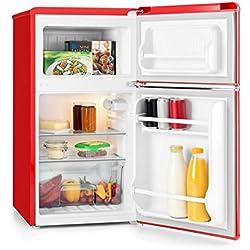 Klarstein • Monroe Red • Nevera con frigorífico • Consumo 70 W • Minibar • Capacidad 61/24 litros • 2 estantes de cristal • 2 paneles • Clase A+ • Silencioso 40 dB • 5 etapas • Estilo retro • rojo