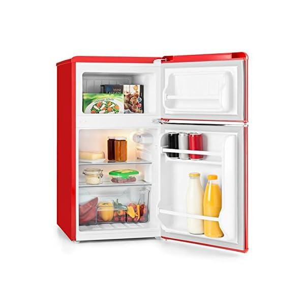 Klarstein Monroe Black Refrigerator & Freezer Combination (61L Fridge Volume, 24L Freezer Compartment Volume, Class A+, Retro Look) 51hahBGdjzL