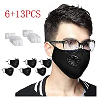 6 PCS Anti Pollution Cover Unisex Outdoor N-95 Non Woven Fabric Dust Cover +13 PCS INNER (6PCS Black + 13PCS Filters)