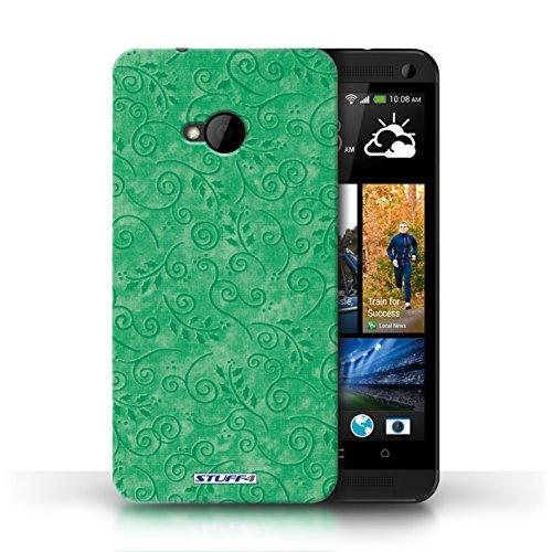 Kobalt-swirl (KOBALT® Hülle Case für HTC One/1 M7 | Grün Entwurf | Blatt-Strudel-Muster Kollektion)