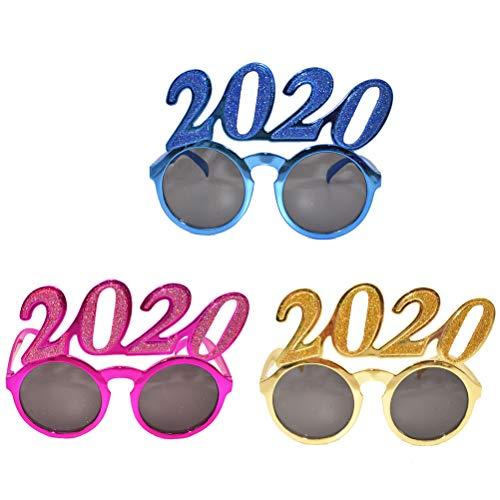 Amosfun 3 Stücke 2020 Party Sonnenbrille Lustige Brillen New Year Party Favors Brillen Geburtstag Lieferungen (Zufällige Farbe)