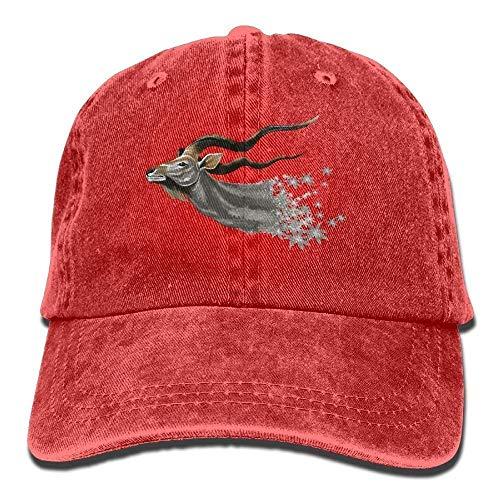 (GHEDPO Antelope Denim Baseball Caps Hat Adjustable Cotton Sport Strap Cap for Men Women)