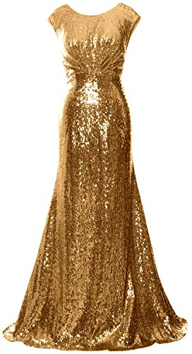 MACloth Women Long Bridesmaid Gown Cap Sleeve Sequin Formal Party Evening Dress Gold