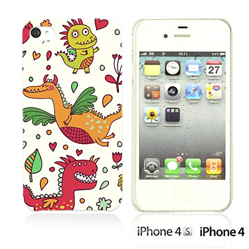 OBiDi - Cartoon Pattern Hard Back Case / Housse pour Apple iPhone 4S / Apple iPhone 4 - Cool Cartoon Wrestler Cartoon Dinosaur Pattern