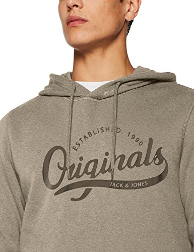 JACK & JONES Herren Kapuzenpullover Jorpaddy Sweat Hood Grau (Light Grey Melange Fit:Reg)