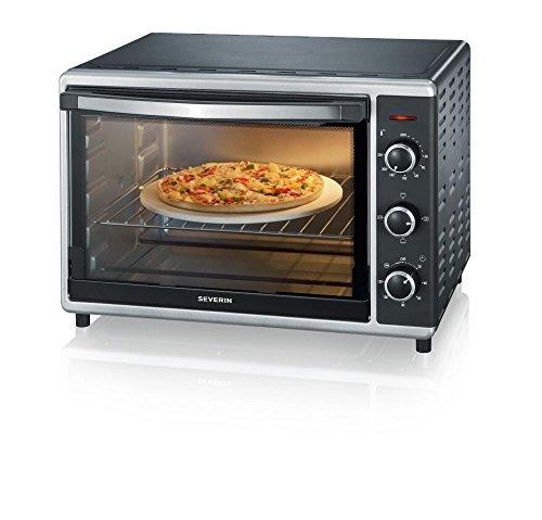 SEVERIN Mini-Four avec Chaleur Tournante, Pierre à Pizzas Incluse, 1 800 W, 42 L, TO 2058, Argent/Noir (Reconditionné)