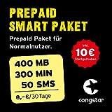 congstar Prepaid Smart Paket [SIM, Micro-SIM und Nano-SIM] - Das Prepaid Paket für Normalnutzer in bester D-Netz-Qualität (300 Min., 50 SMS, 400 MB für 8 €/30 Tage). Inkl. 10 EUR Startguthaben preiswert