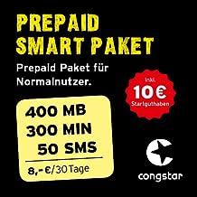congstar Prepaid Smart Paket [SIM, Micro-SIM und Nano-SIM] - Das Prepaid Paket für Normalnutzer in bester D-Netz-Qualität (300 Min., 50 SMS, 400 MB für 8 €/30 Tage). Inkl. 10 EUR Startguthaben