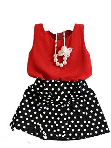 ykleidung Sommerkleid Mädchen kleid Blumensmädchenkleid Clothes Brautjungferkleid Prinzessin Kleid Abendkleid Partykleid Festkleid LMMVP (Rot, 120) (Baseball Kostüm 12 Monate)