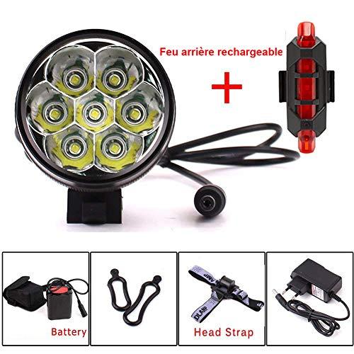 YEHOLDING Eclairage LED Velo,9000 Lumens 7X CREE XM-L T6 LED 3 Modes Bicyclette de Vélo Lampe...