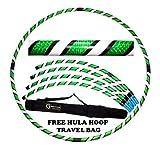 Pro Hula Hoop Reifen Erwachsene (Schwarz/Weiß/Grün UV) Zerlegbarer 4 piece Travel Hula Hoop für Training u. Tanz HoopDance - Größe 100cm, Gewicht 650g