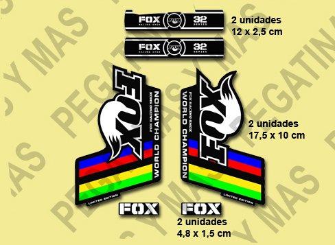 PEGATINAS FOX 32 HORQUILLA FORK FDCAMPEÓN DEL MUNDO STICKERS AUFKLEBER DECALS AUTOCOLLANTS ADESIVI (NEGRO BLANCO COLORES)