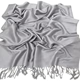 Silver Grey Solid Colour Design Shawl Scarf Wrap Stole Pashmina CJ Apparel NEW