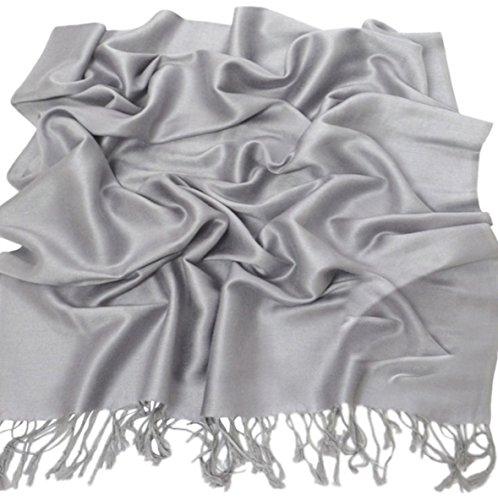 Silbergrau Einfarbiges Design Stola Schal Umschlagtuch Schultertuch Tuch CJ Apparel