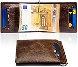 Travando  Kartenetui mit GELDKLAMMER LEDER RFID Geldbeutel mit Geldscheinklammer  Kreditkartenetui, Kreditkartenhalter, Kartenbörse, Portemonnaie, Geldspange, Portmonee Herren, Geldbörse