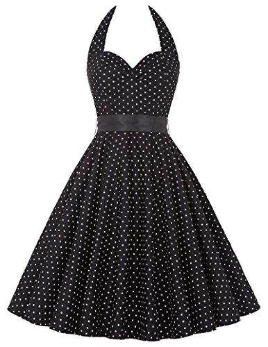 Donne 1950 Vintage con allacciatura al collo di Polka Dots Dress Cotone XL YF4599-4