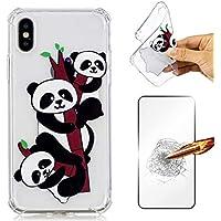 iPhone X Hülle JINCHANGWU Transparent Durchsichtig TPU Silkon Handyhülle mit Panzerglas Displayschutzfolie 360 Full Cover Protection Stoßdämpfung Schutzhülle - DREI Pandas