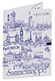 Sammelmappe ohne Gummizug, DIN A3, aus Graukarton, Städte der Welt, sortiert in 5 Farben