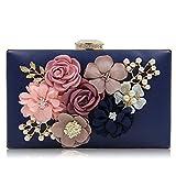 LLUFFY-Clutch Pochette Borsa per banchetti a mano, borsa con perline di fiori, piccola borsa a catena quadrata, adatta per feste, balli, matrimoni, feste, 19 * 14 * 5cm, blu scuro